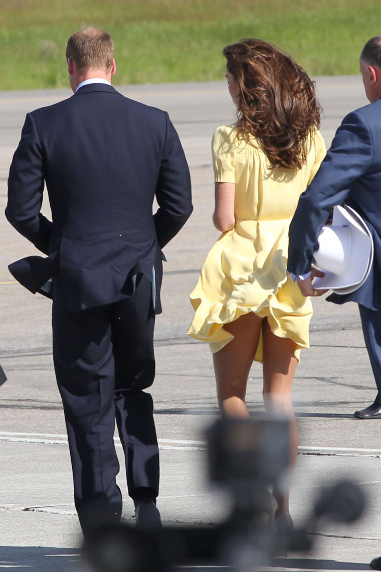 Helicopter Blows The Duchess Kate Middleton Skirt Up