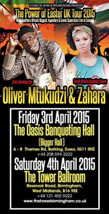 Oliver Mtukudzi & Zahara UK 2015 Easter Tour