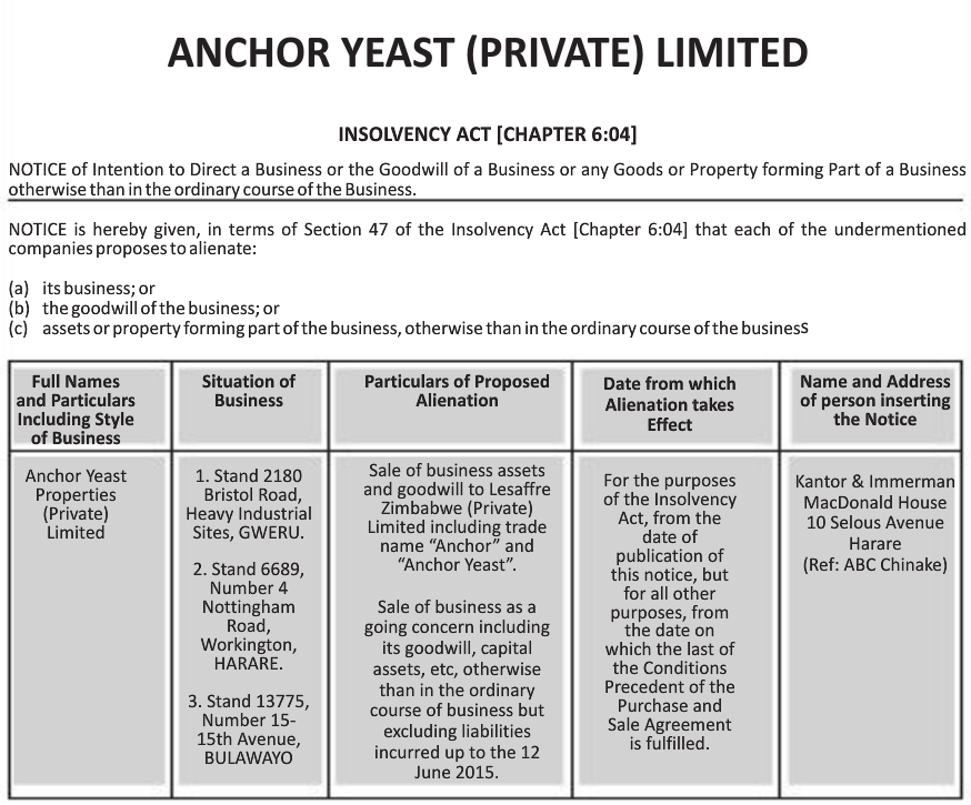 Anchor Yeast Plunged Into Insolvency To Sell Off Assets Harare24 News