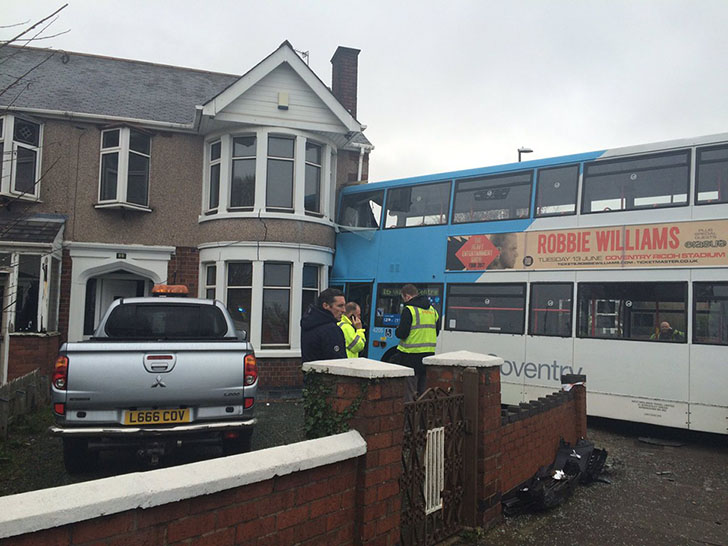 WATCH: Double-decker bus crashes into house