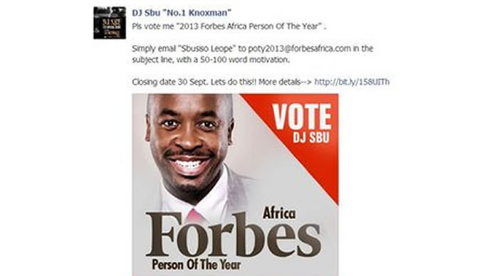 DJ Sbu up for Forbes Africa Person of the Year title