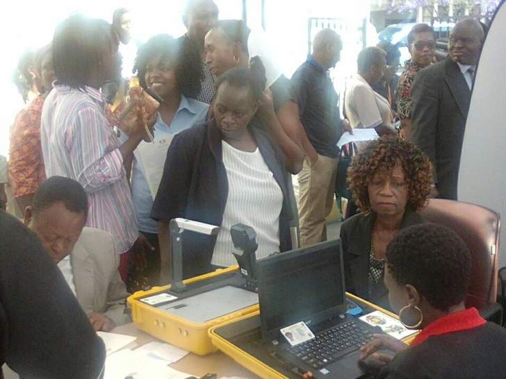 PHOTOS: MPs, Parliament staff registering to vote at Parliament car park