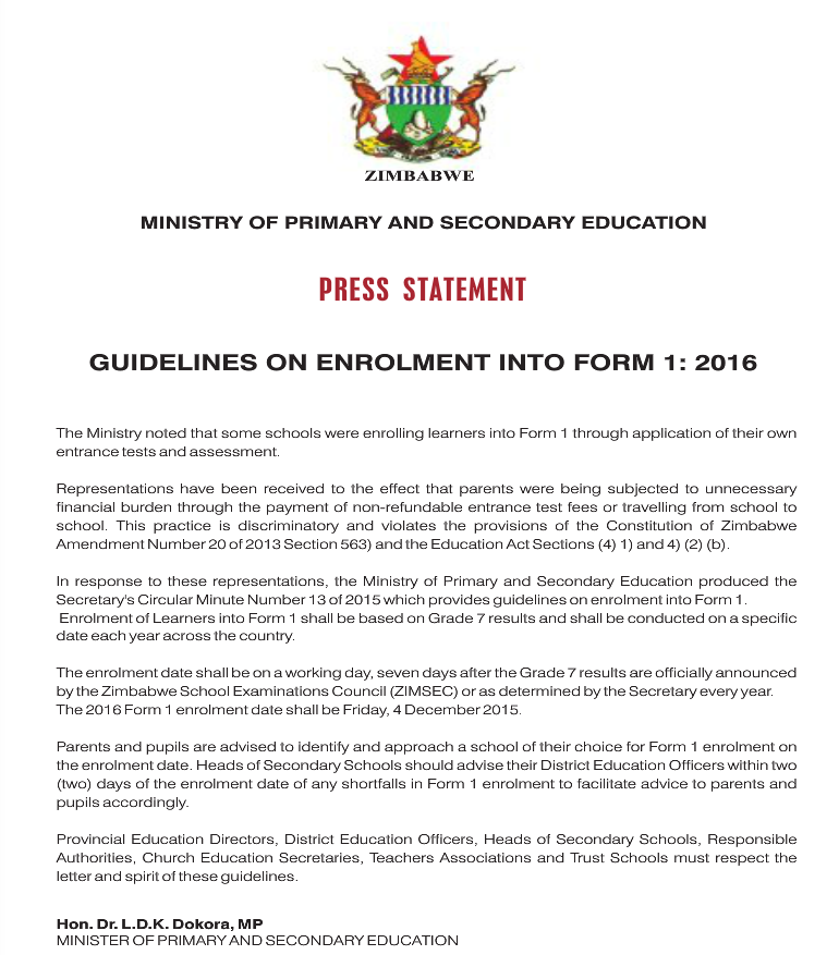 Guidelines On Enrollment Into Form 1 In 2016 Bulawayo24 News