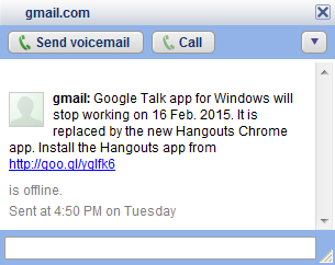 Google' Gtalk services will be ending in February