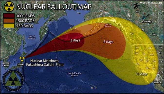 Radioactivity from Japan heading for N America ...