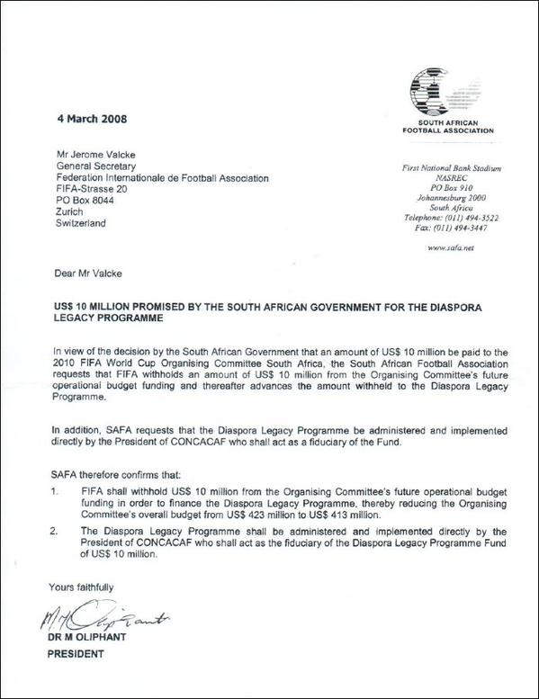 Bribe Letter From Safa To Fifa Instructing 10m Payment
