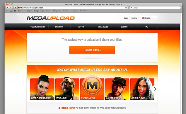 Megaupload website shut down by FBI