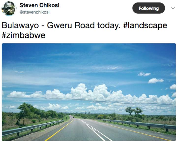Bulawayo - Gweru Road today, a lovely picture