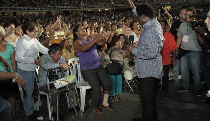 TB Joshua Very Successful in Colombia, fills Olympic stadium