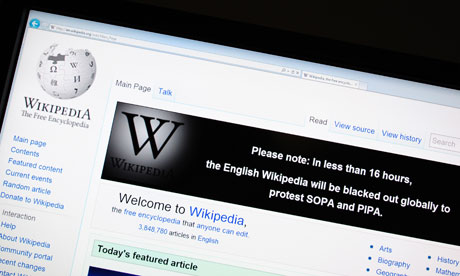 Wikipedia blackout for 24hrs in protest against anti-piracy legislations