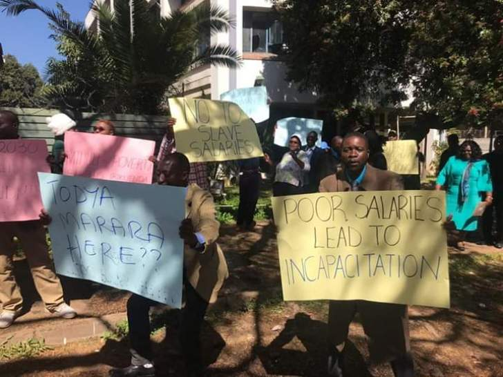 Civil servants stage demonstration in Harare
