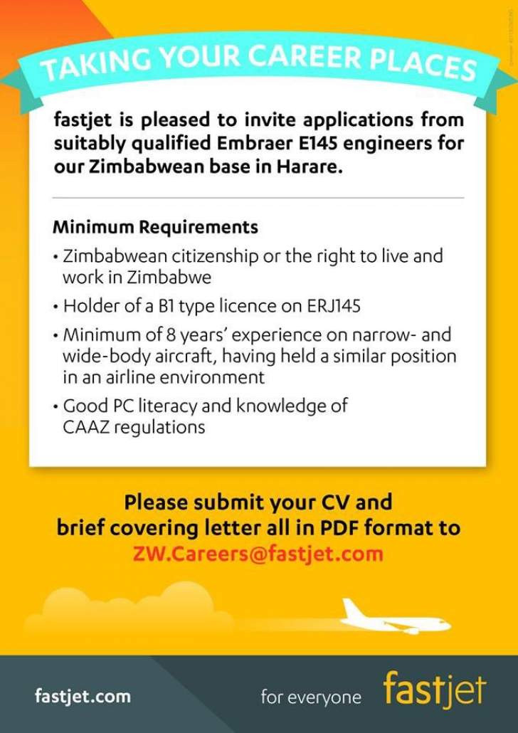 Fastjet looking embraer e145 engineers in zim business daily news please submit your cv and brief covering letter all in pdf format to zwreersfastjet fastjet for everyone fastjet stopboris Choice Image