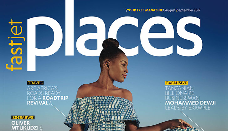 Miss Tourism Zimbabwe on fastjet's new Places Magazine cover