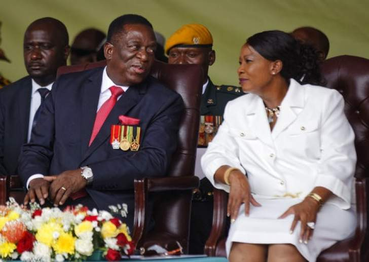 Emmerson Mnangagwa And His Wife Auxillia Right At The Presidential Inauguration Ceremony In The Capital Harare Zimbabwe
