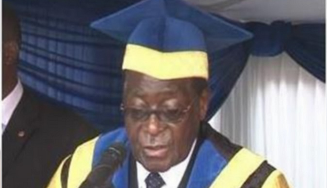 President robert mugabe who is also the chancellor of the chinhoyi