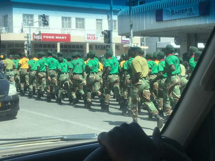 WATCH: Soldiers in Gweru march on behalf of Chamisa's MDC