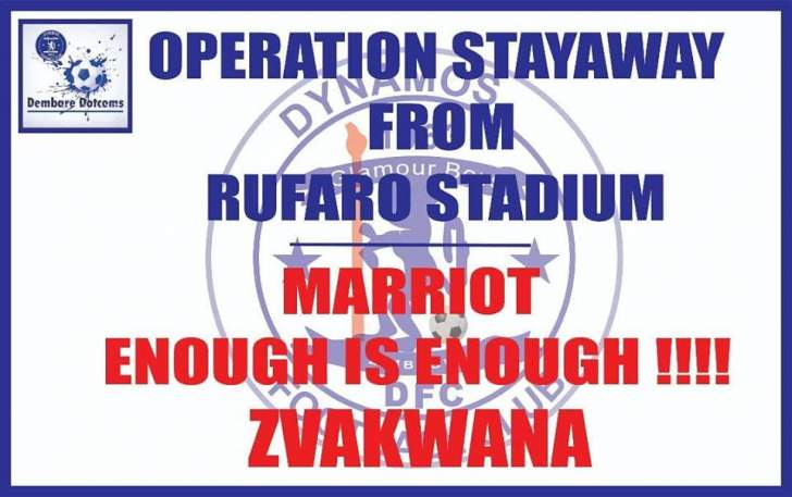 Dembare fans in operation stay away from Rufaro as Dembare resturtures