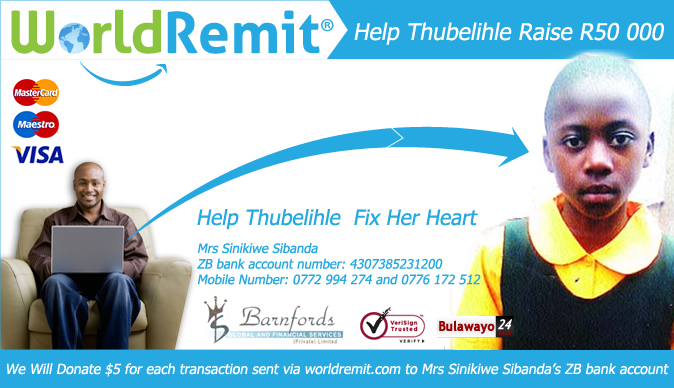 WorldRemit pledges $5 per every transaction to help Bulawayo girl get heart surgery