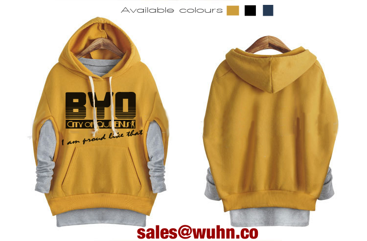 BYO City of Queens Kangaroo Pocket 2 in 1 Loose Pullover Hoodie Sweatshirt